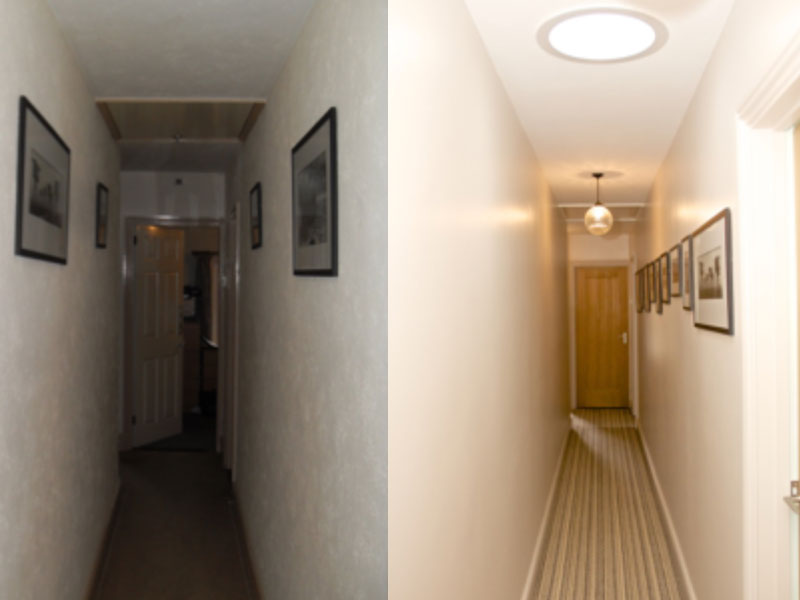 Before and after, dark corridor to light gallery space